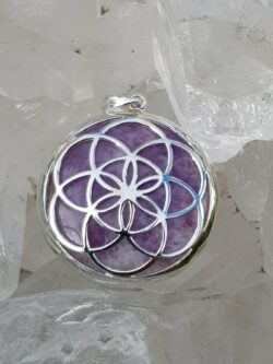 Seed of Life Pendant Amethyst set in Stirling silver