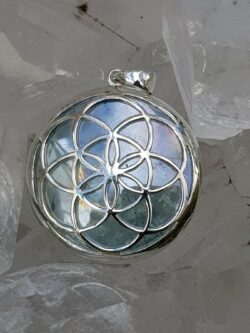 Seed of Life Pendant Aqua Aura set in Stirling silver