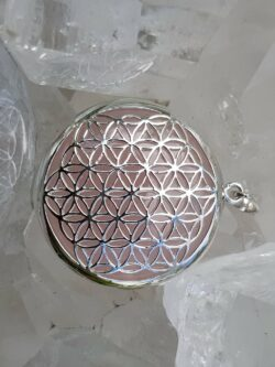 The Flower Of Life Pendant Rose Quartz set in Stirling Silver