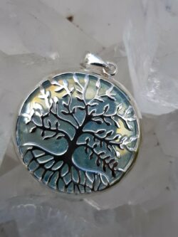 Tree of Life Pendant Aqua Aura set in Stirling Silver