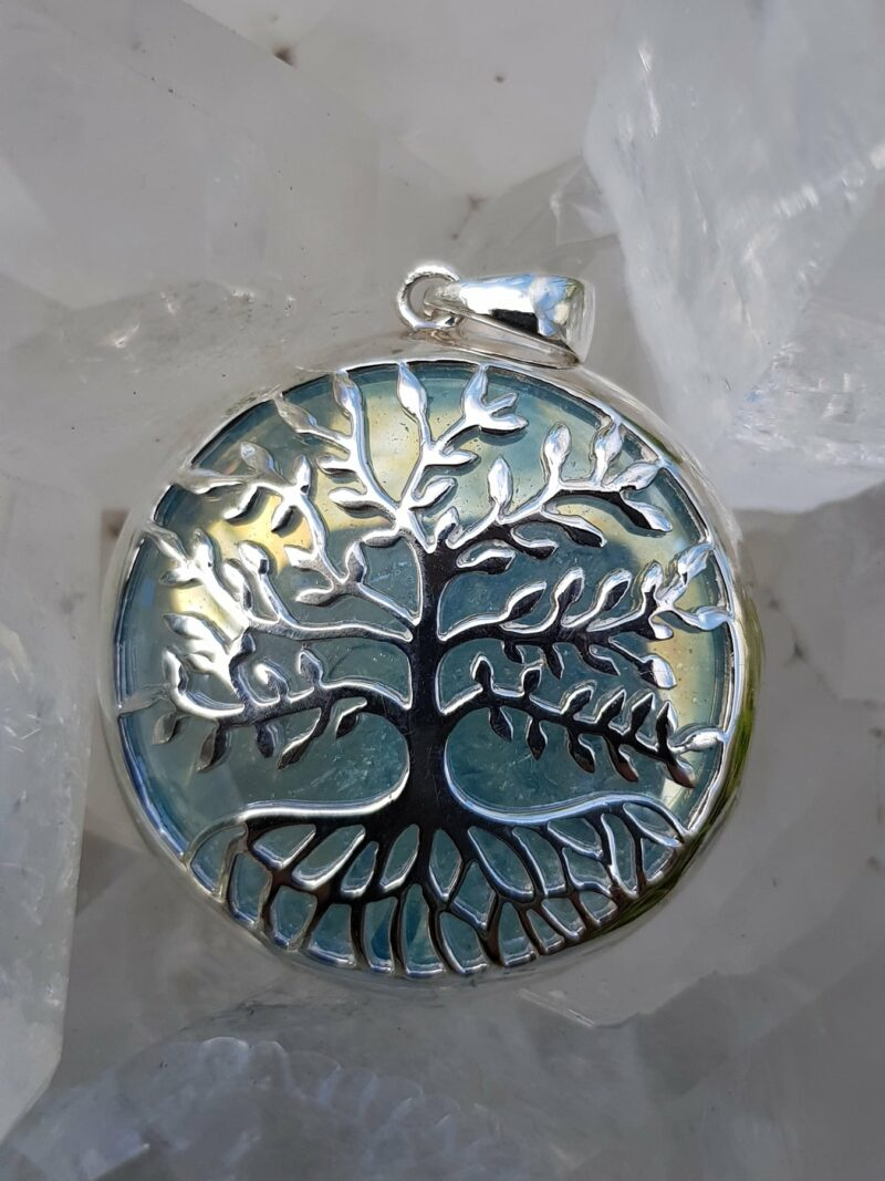 Tree of Life Pendant Aqua Aura set in Stirling Silver