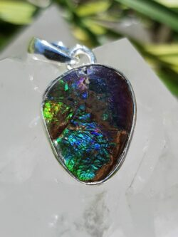 Ammolite pendant set in silver