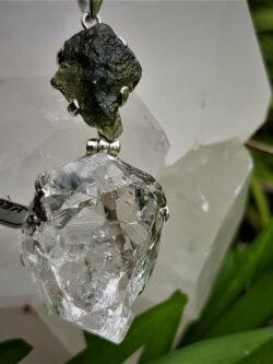 Magnificent Moldavite and Herkimer Diamond Pendant Set in Stirling Silver