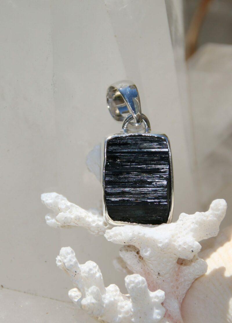 Black Beauty, Black Tourmaline silver pendant