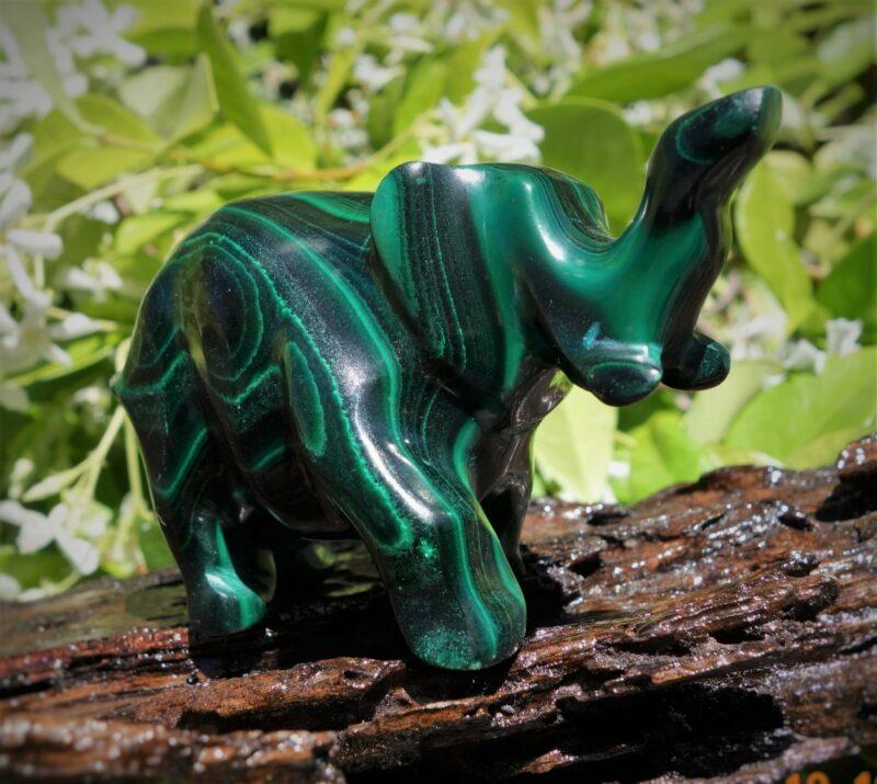 Superb Malachite Elephant carving