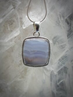 Blue Lace Agate pendant - Communication Stone