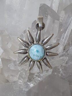 Larimar Sun set in 925 silver